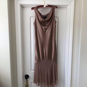 A stunning silk evening dress in dusty rose